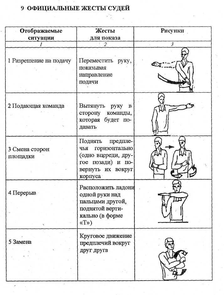 Жесты судьи в волейболе – с картинками и пояснениями от а до я